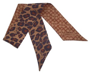 Coach Signature Ocelot Animal Print Pony Ponytail Scarf