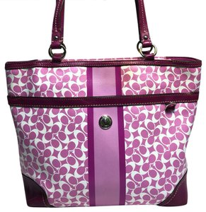 Coach Tote in pink and white