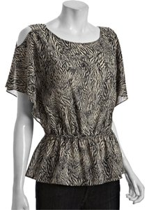 Leifsdottir Silk Feather Print Peplum Top navy & beige