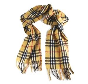 Burberry BURBERRY Heritage Scarf in 100% Lambswool Yellow Check