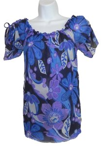 Sweet Pea by Stacy Frati Mesh Knit Washable Top Blue