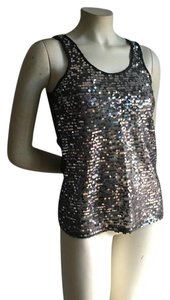 Express Sequin Lace Racer-back Party Top gray