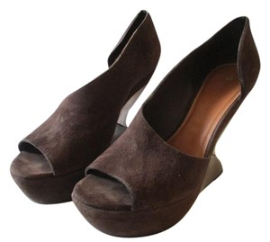 Leifsdottir Brown Suede Sculptural D'orsay Platform Chocolate Brown Wedges