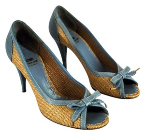 Moschino Straw Weaved Peep Toe Beige and Blue Sandals