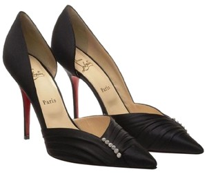 Christian Louboutin Super Evening Jewel Satin D'orsay Black Pumps