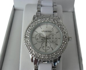 Unlisted by Kenneth Cole UNLISTED NEW WHITE CERAMIC AND CRYSTAL QUARTZ ANALOG WATCH WITH BOX