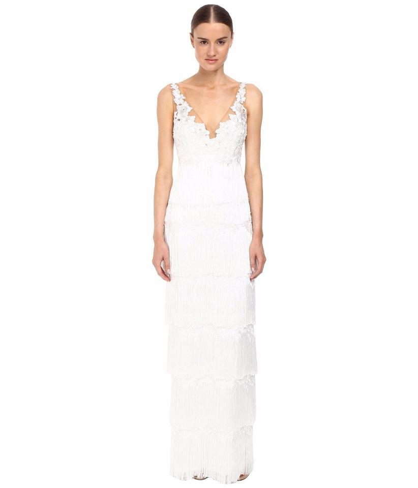 479e7c794f Marchesa Notte Ivory Polyester. Embroidery: Polyester. Combo 1: Polyester.  Combo 2: Polyester. Lining: 97% Polyester 3% Spandex. Fringe Gown Women's V  ...