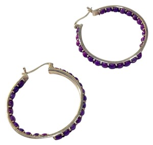 Other charoite (purple) and sterling hoops