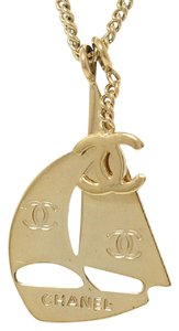 Chanel Authentic Rare Gold CC Sailing Boat Necklace Summer Collection Stamped