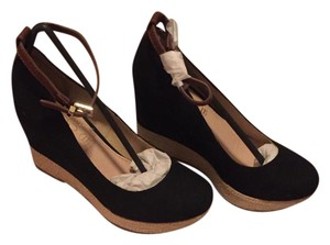 ALDO black with brown leather ankle strap Wedges