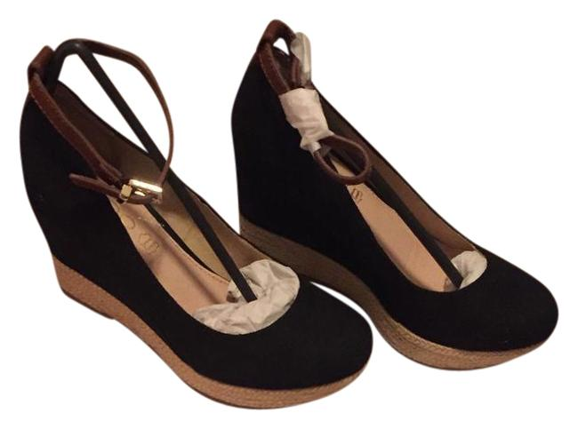 Item - Black with Brown Leather Ankle Strap Grenada Almond Toe Wedges Size US 7 Regular (M, B)