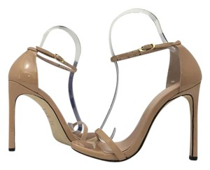 Stuart Weitzman High Heels Ankle Strap Casual Adobe Aniline Patent - Nude Patent Leather Sandals
