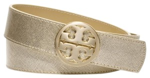 """Tory Burch 1 1/2"""" Reversible Belt Classic Logo Tan Brown Gold Leather Size S"""