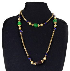 Chanel PEARL CRYSTAL NECKLACE - GRIPOIX GLASS GOLD MULTICOLOR BEADED CHAIN