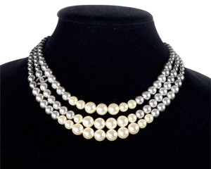 Chanel PEARL OMBRE NECKLACE 2015 NEW - GRADIENT BLACK WHITE BEAD MULTISTRAND