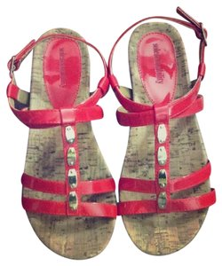 Sole Sensibillity Gold And Shiny Red Sandals