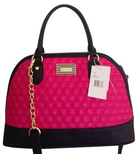 Betsey Johnson Dome Satchel in Hot Pink & Black