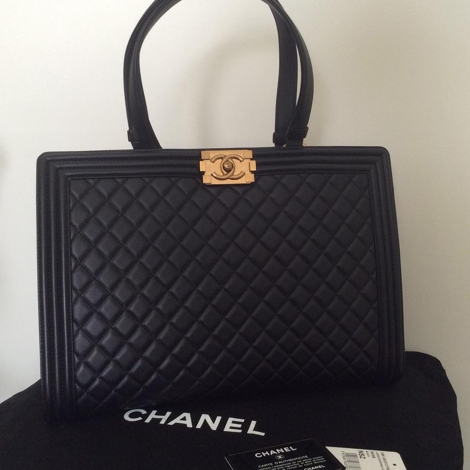 Chanel Shopping Tote Boy Quilted Large Black Leather Tote - Tradesy 79f64f17a5743