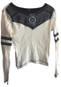 Free People Embroidery Thermal Detail Casual Boho Sweater