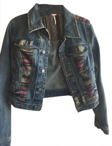 Free People Jean Tribal Boho Denim Womens Jean Jacket