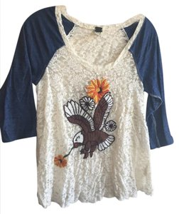Free People Embroidered Embroidery Lace Eagle 3/4 Sleeve T Shirt Blue