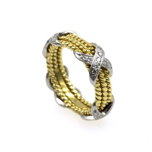 Tiffany & Co. Tiffany Schlumberger Diamond X Three Row 18K Yellow Gold Band Ring