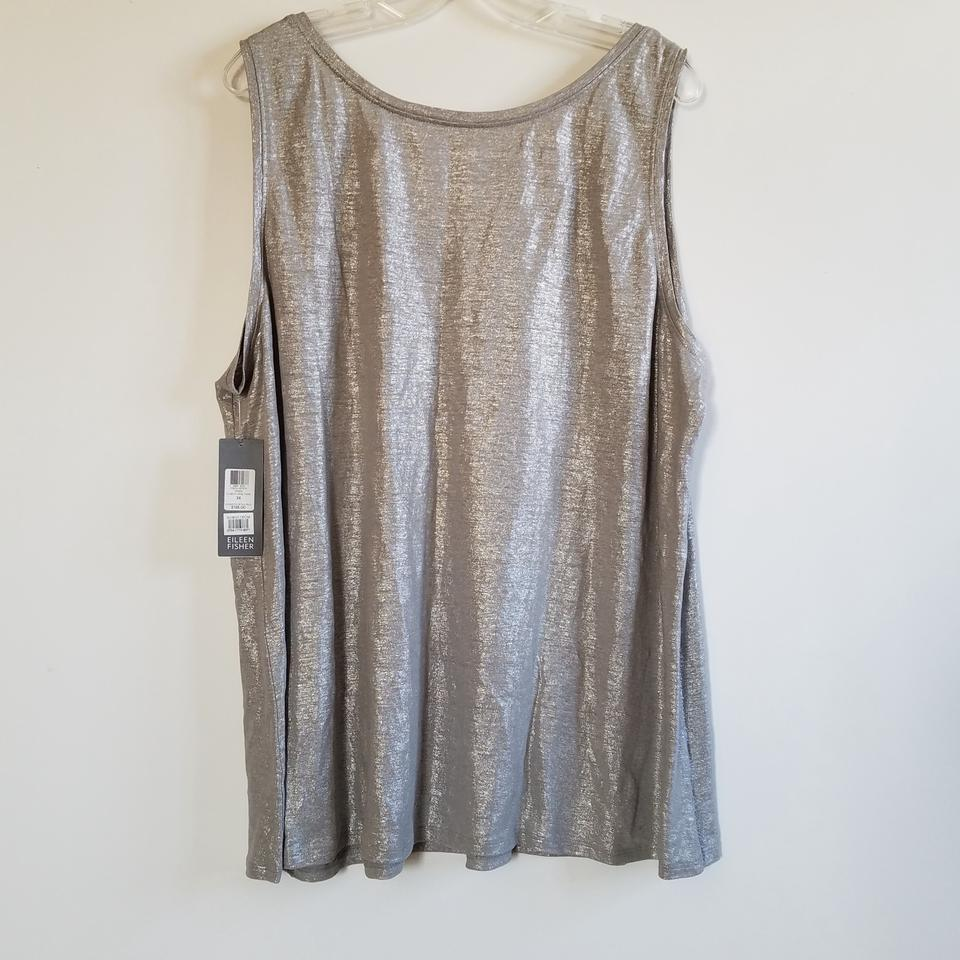 70282b9dd6 New Eileen Fisher Silver Metallic Shimmer Linen Tank Top Cami Size 26 HF69
