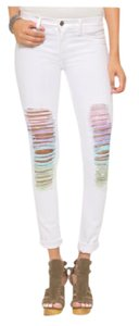 Wildfox Skinny Rainbow Ripped Stretch Skinny Jeans-Light Wash