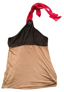 Hale Bob Red Black Tan Halter Top