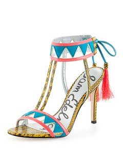 Sam Edelman Snake Blue Tassle Neon Multi Color Sandals