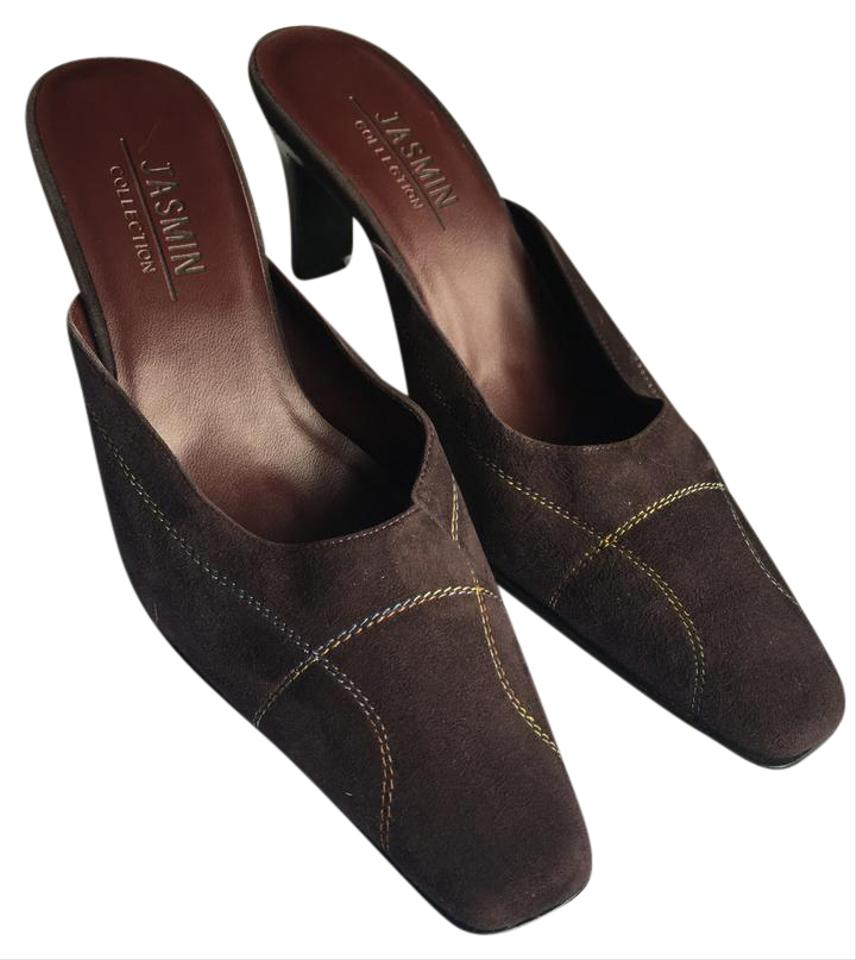 Jasmin Leather Brown Joanna - Suede Leather Jasmin Stitching Detail Mules/Slides ae88b8