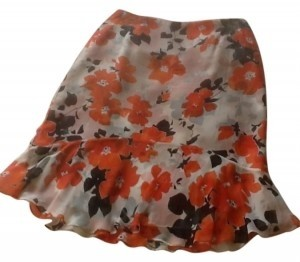 Charter Club Skirt Cream with black and orange print