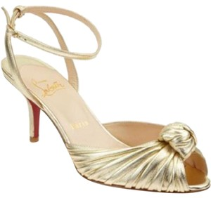 Christian Louboutin Knotted Gres's Mule Ankle Strap Gold Sandals