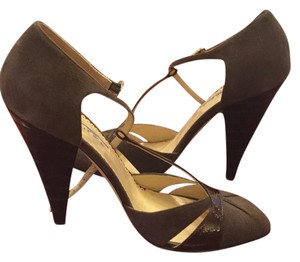 Oscar de la Renta brown leather trimmings and brown suede Formal