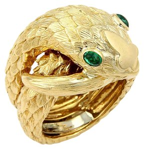 David Webb David Webb 18k Yellow Gold & Emerald Coiled Snake Ring Band