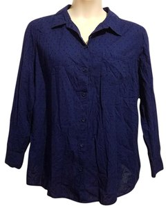 Faded Glory Button Down Shirt Navy Blue