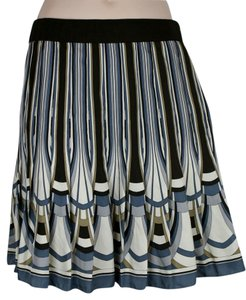 Elie Tahari Pleated Silk Mini Mini Skirt BLUE, BROWN, KHAKI, IVORY