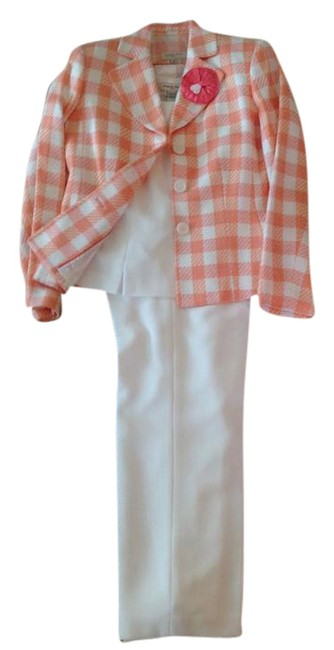 Item - White with Pastel Large Gingham-like Print Jacket Lovely 3 Pc Spring Pant Suit Size 6 (S)