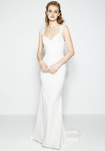Nicole Miller Bridal Antique White Silk Alexis Fj10005 Formal Wedding Dress Size 14 (L)