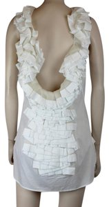 Ermanno Scervino Cotton Tule Pleated Backless Scoop Back Top WHITE
