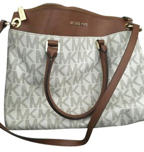 Michael Kors Leather Canvas Tote Shoulder Bag