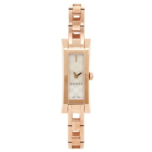 Gucci Logo Print Mother of Pearl Dial Rose Gold Designer Watch