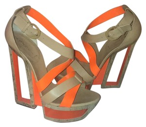 Casadei Tan & orange Wedges