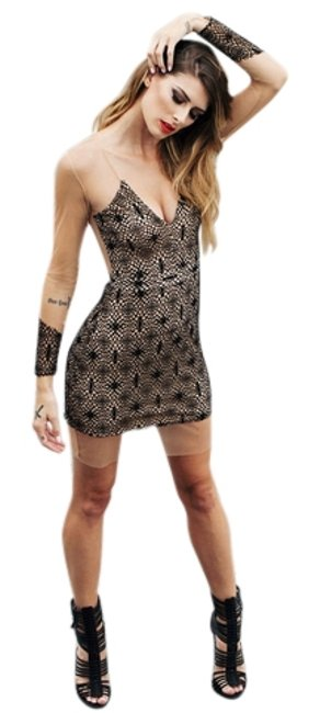 Item - Black and Sheer Nude Long Sleeve Cocktail Above Knee Short Casual Dress Size 6 (S)