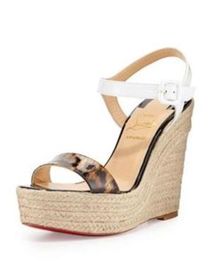 Christian Louboutin Platform Espadrille Rope Spachica White, Leopard Wedges
