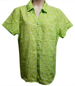 Kim Rogers Button Down Shirt Green and White