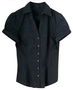 Express Button Down Shirt Black with blue pinstripe