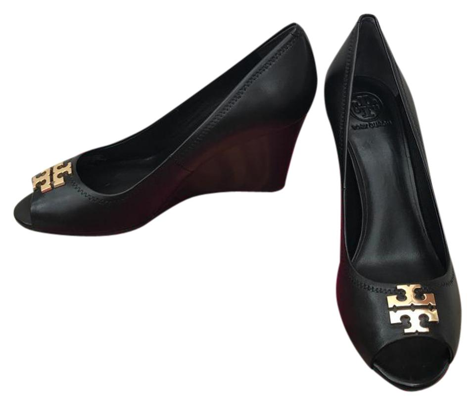 35111645ef84 Tory Burch Black 7.5m   Laura   85mm Open Toe Mestico Wedges. Size  US 7.5  Regular ...