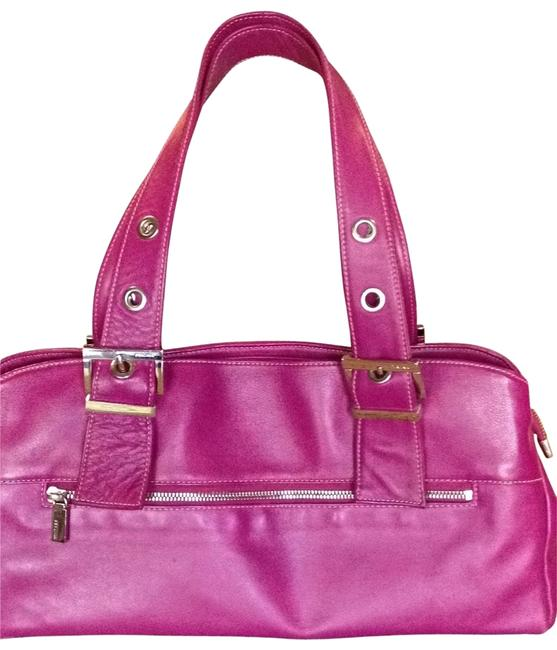 Perlina Raspberry Leather Shoulder Bag Perlina Raspberry Leather Shoulder Bag Image 1