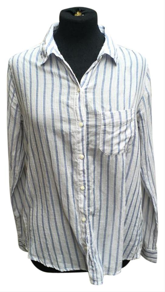 fd6c3d2959389 BP. Clothing White and Blue Bp Button Blouse Size 8 (M) - Tradesy